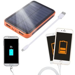 Large Capacity Waterproof Portable Solar Power Bank Dual USB Solar Charger Black&Orange 30000