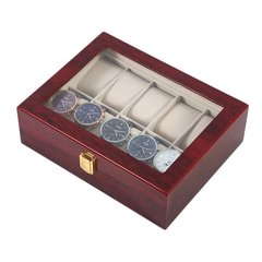 Practical 10 Grids Wooden Watch Box Jewelry Display Collection Storage Case