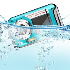2.7inch TFT Digital Camera Waterproof 5MP MAX 1080p Dual Screen 16x Digital Zoom Camcorder HD268 blue 12 * 6.5 * 2.5 cm
