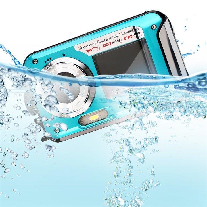 2.7inch TFT Digital Camera Waterproof 5MP MAX 1080p Dual Screen 16x Digital Zoom Camcorder HD268 blue 12 * 6.5 * 2.5 cm