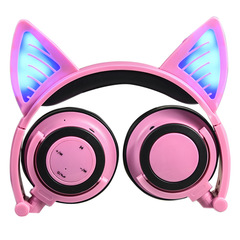 Bluetooth wireless headset foldable flash cat game headset with LED lights for children and girls pink