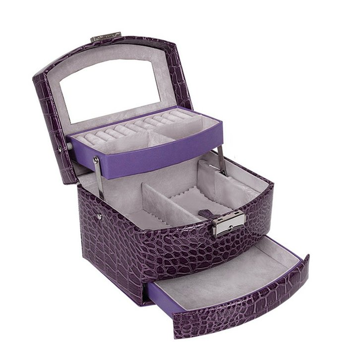 Faux leatherCrocodile Grain Automatic Buckle Jewelry Display Box With 3 Layers purple 15.5*13*12cm