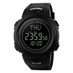 Sport Quartz Analog Digital Waterproof Military LED Date Outdoor Compass Watch Black one size