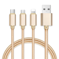 Universal 3 in 1 Android/iphone/type-c Tecno/Huawei//Samsung USB Quick Charge Data Cable 1PCS Yellow Length 1.2M