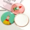 Portable Mini Mirror for Make Up Cute Small Round Beauty Tiny Women Accessories 1PCS Random Color random color diameter 6.8 cm