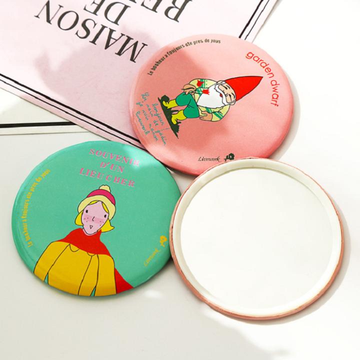 Portable Mini Mirror for Make Up Cute Small Round Beauty Women Accessories 1PCS Random Color Diameter 6.8 cm