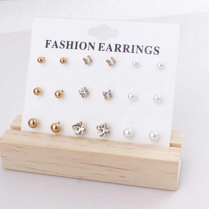 18 PCS/Set Earring Women Fashion Accessories Jewellery Rhinestone Diamond Pearl Gold Earring As Picture One Size
