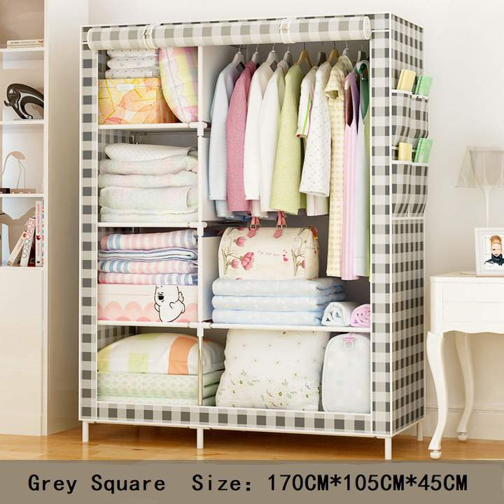 DIY Assemble Wardrobe Large Capacity Closets Portable Home  Living Storage Cabinet  Non-Woven Fabric grey squares