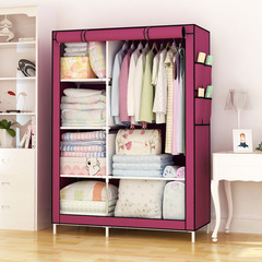 DIY Assemble Wardrobe Large Capacity Closets Portable Home  Living Storage Cabinet  Non-Woven Fabric wine red