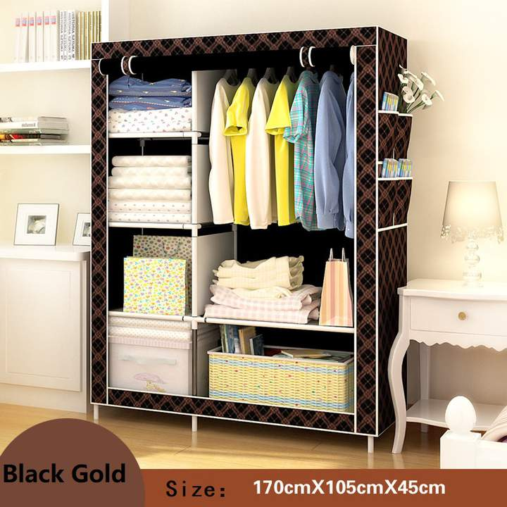 DIY Assemble Wardrobe Large Capacity Closets Portable Home  Living Storage Cabinet  Non-Woven Fabric black gold
