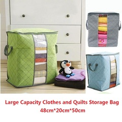 Large Capacity Clothes Storage Bag Portable Foldable Organizer Non Woven Pouch Box Quilt Home Living Random