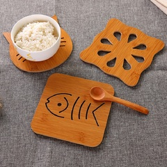 2PCS/SET Real Wooden Table Placemat Coaster Cute Durable Mat Kitchen Anti-Heat Cup Pot Pan Pad IKEA 2PCS/Set Random 14CM*14CM