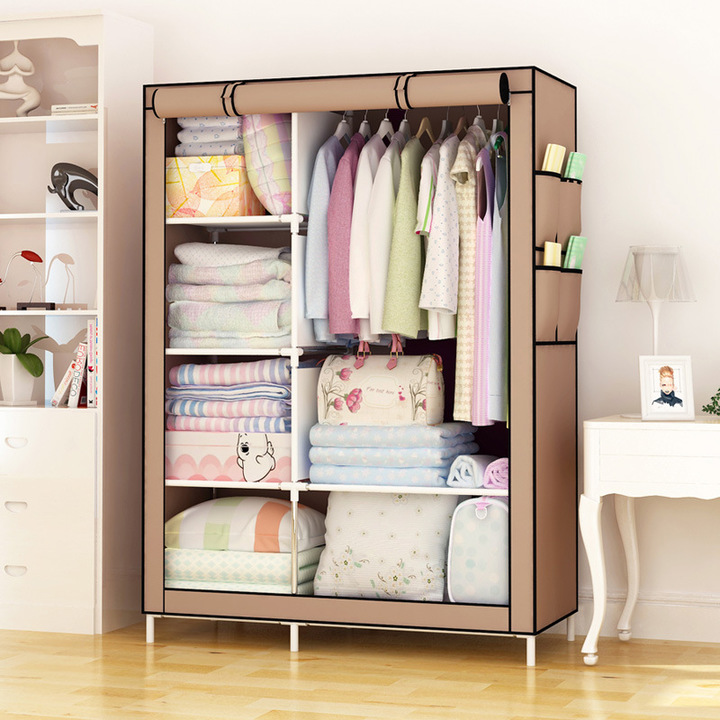 Large Capacity Wardrobe DIY Assemble Closets Portable Home Storage Cabinet  Hanger Non-Woven Fabric Coffee