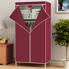 Assemble Wardrobe Large Capacity Closet Portable Home Living Storage Cabinet Hanger Non-Woven Fabric wine red