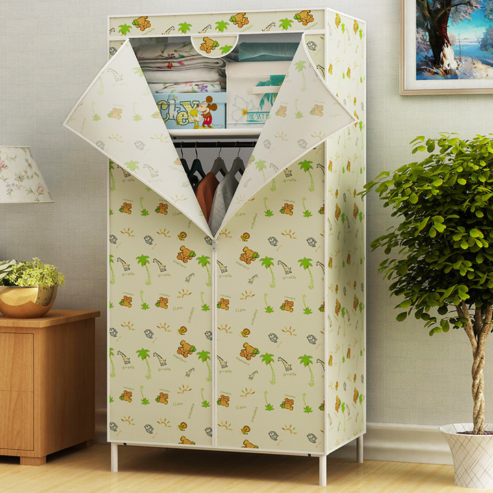 Assemble Wardrobe Large Capacity Closet Portable Home Living Storage Cabinet Hanger Non-Woven Fabric Yellow