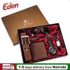 6PCS/SET Gift Set Watch Sunglasses Wallet Belt Pen Keychain Present Men's Fashion Accessories Brown 6pcs/set