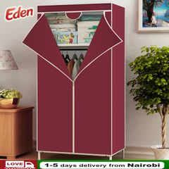 DIY Assemble Wardrobe Large Closet Portable Home Living Storage Cabinet Non-Woven Fabric Furniture wine red