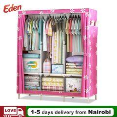 Pink Flower DIY Wardrobe High Capacity Home Storage Dustproof Steel Frame Assemble Cabinet Furniture pink
