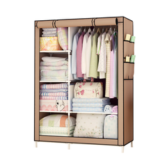 Best Quality DIY Assemble Wardrobe Large Capacity Closets Portable Storage Cabinet  Non-Woven Fabric coffee