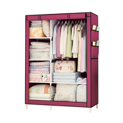 Best Quality DIY Assemble Wardrobe Large Capacity Closets Portable Storage Cabinet  Non-Woven Fabric wine red
