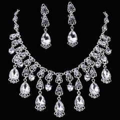 FH Brand 1 Set Of 3 Bridal Austrian Crystal Necklace Teardrop Pendand Earrings Wedding Gown Jewely silver 50cm