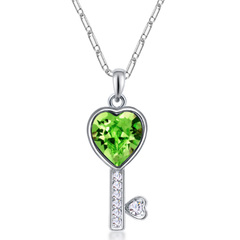 FH Hot SellFashion Necklace Austrian Crystal Alloy Key Pendant Creative Collarbone Chain Accessories green 50cm