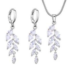 FH 1 Set Of 3 Zircon Necklace Long Leaf Shape Pendant Earrings Party Dress Bride Wedding Accessories silver 50cm