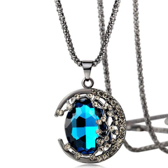 FH Bohemian Gem Long Necklace Crystal Half Curved Moon Shape Pendant FashionSweater Chain Accessorie blue 60cm
