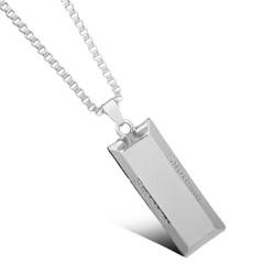 FH Hot Sell Men Women General Alloy Brick Long Necklace Pendant Hip Hop Fashion Creative Accessories silver 50cm