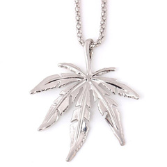 FH Hot Sell Hip-Hop Both Men Women Alloy Necklace Maple Leaf Shape Pendant Street Dance Accessories silver 72CM