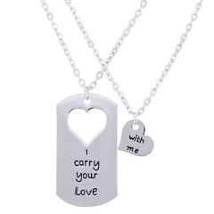 FH Fashion Creative Couples Joint Alloy Necklace Heart Lettering Pendant Romantic Gift Accessories silver 80cm