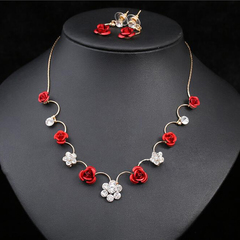 FH 1 Set Of 3 Gem Alloy Necklace Rose Pendant Long Earrings Bride Suit Creative Fashion Accessories rose gold 80cm