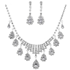 FH 1 SEt Of 3 Jewely Alloy Necklace Water Drop Pendant Earring Bridal Wedding Bridesmaid Accessories white 50cm