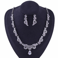 FH 1 Set Of 3 Bridal Alloy Inserts Diamond Necklace Bowknot Waterdrop Pendant Earrings Wedding Set silver 50cm