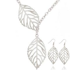 FH 1 Set Of 3 Alloy Necklace Double Leaf Pendant Earrings Creative Collarbone Chain Accessories silver 50cm