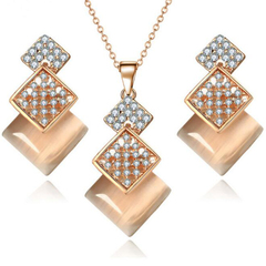 FH 1 Set Of 3 Alloy Inserts Diamond Necklace Square Pendant Earring For Women Fashion Gem Jewelry pink 80cm