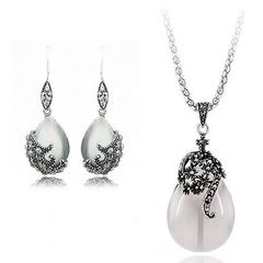 FH 1 Set Of 3 Vintage Alloy Necklace Cat Eye Stone Flower Vine Pendant Earring For Women Gem Jewelry white 50cm