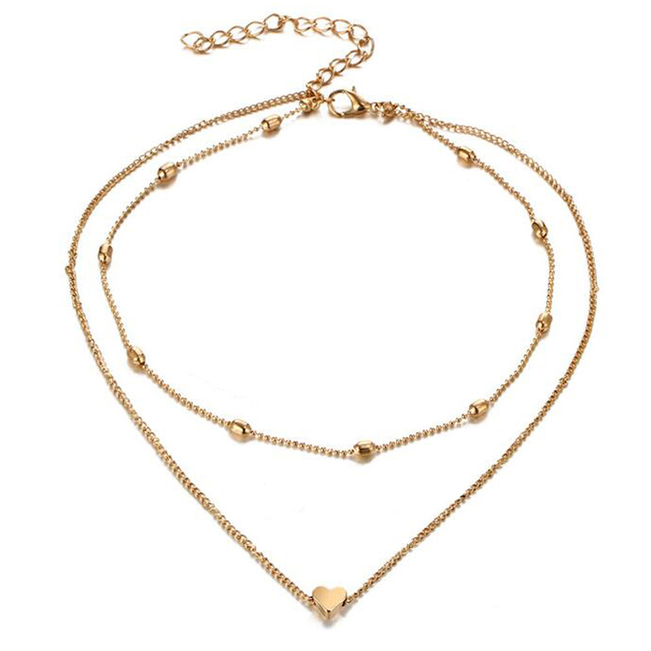 fcf044aa64910 FH Ladies Fashion Simple Alloy Double Necklace Oval Bead Heart Pendant  Collarbone Chain Accessories gold 36.5cm