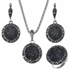 FH Brand 4 Piece/Set Alloy Necklace Circular Gravel Resin Pendant Earring Fashion Simple Accessories black 80cm
