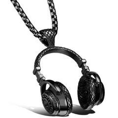 FH Hot Sell Hip-Hop Both Men Women Alloy Necklace Headset Pendant Street Dance Rock&Roll Accessories black 60cm