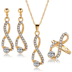 FH 1 Set of 4 Alloy Inserts Diamond Necklace Pendant Earring Lady Wedding Fashion Simple Accessories gold 50cm