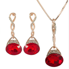 FH European&American Alloy Inserts  Diamond Necklace Earrings Set Oval Pendant Fashion Contracted red 50cm