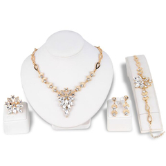 FH Brand 5 Piece/Set Crystal Alloy Necklace Grapes Pendant Earring Bracelet Rings Fashion Accessorie white 50cm