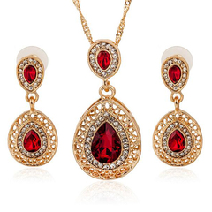FH 1 Set Of 3 Gem Alloy Necklace Water Drop Pendant Long Earrings Suit Creative Fashion Accessories red 50cm