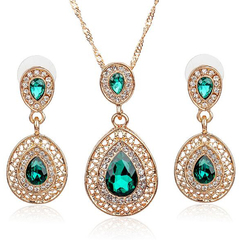 FH 1 Set Of 3 Gem Alloy Necklace Water Drop Pendant Long Earrings Suit Creative Fashion Accessories green 50cm