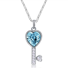 FH Hot SellFashion Necklace Austrian Crystal Alloy Key Pendant Creative Collarbone Chain Accessories blue 50cm