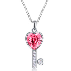 FH Hot SellFashion Necklace Austrian Crystal Alloy Key Pendant Creative Collarbone Chain Accessories pink 50cm