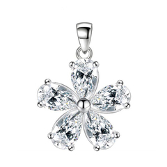 FH Brand Alloy Inserts Diamond Flower Shape Single pendant For Women Classic Fashion Gem Jewelry white 14.1 mm in width and 20.3 mm in height