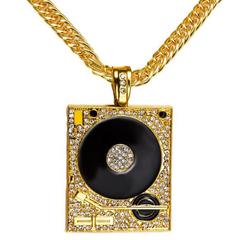 FH Men&Women Inserts Diamond Alloy Necklace Disc Phonograph Pendant Hip-Hop Rap Creative Accessories gold 60cm