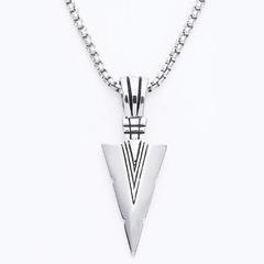 FH European&Amccessories Men&Women Alloy Necklace Triangle Pendant Hip-Hop Fashion Accessories silver 70cm